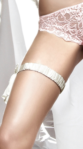 Ruched White Satin Leg Garter with Bow