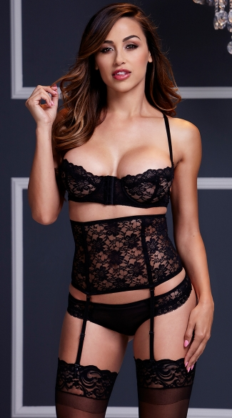 Black Lace Bra and Waist Cincher Set with Panty, Lace Bra Set, Black Lace Bra Set