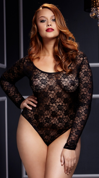 Plus Size Black Lacy Bodysuit, Plus Size Lace Bodysuit, Plus Size Long Sleeve Bodysuit