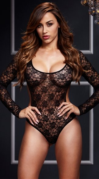 Black Lacy Bodysuit, Lace Bodysuit, Long Sleeve Bodysuit