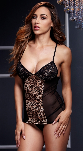 Leopard Chemise with Garters