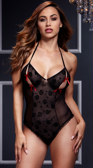 Black Lace Bodysuit with Red Bows