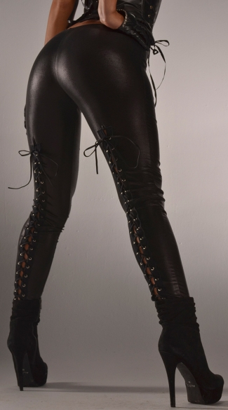 Back Lace Up Wet Look Leggings, Sexy Black Wet Look Leggings