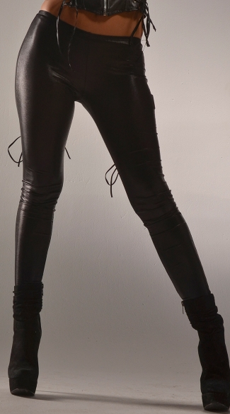 Plus Size Back Lace Up Wet Look Leggings