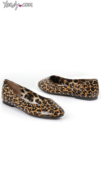 Silver Studded Leopard Flats, Leopard Flat Shoes, Cute Flat Shoes