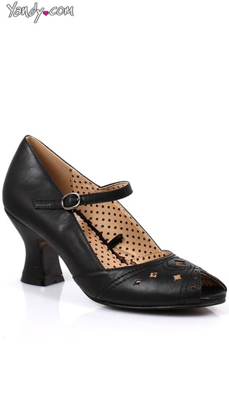 Open Toed Victorian Mary Jane Heel, Peep Toe Heels, Mary Jane Shoes