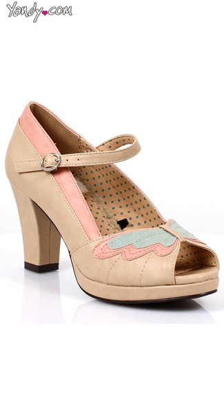Two Toned Butterfly Mary Jane Heel