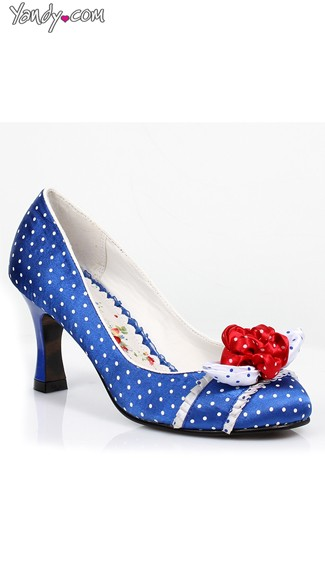 Polka Dot Pump with Floral Bow