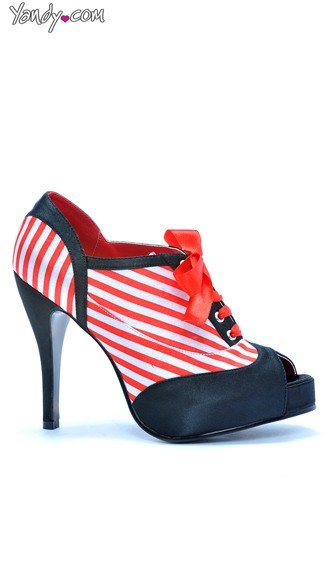 Open Toe Candy Cane Stripe Bootie, Oxford Shoes Women, 4 Inch Heels