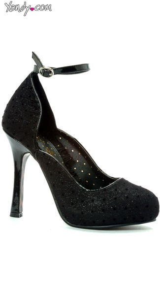 Glitter Mary Jane with Polka Dots, Ankle Strap High Heels, 4 Inch Heel