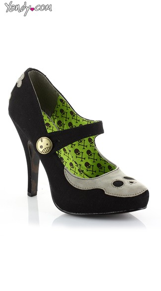 Gris Grimly Mary Jane Skull Pump, Womens Mary Jane Pumps, Skull Shoes