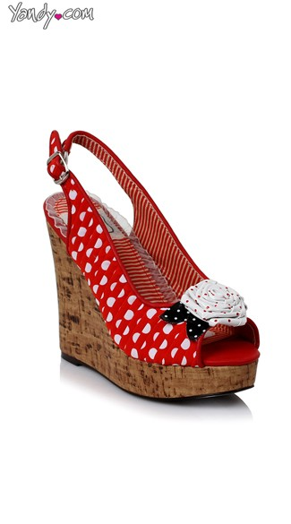 Polka Dot Wedge Sandal, Wedge Sandals For Women, Polka Dot Shoes