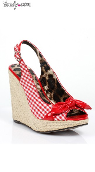 Gingham Espadrille Wedge with Bow