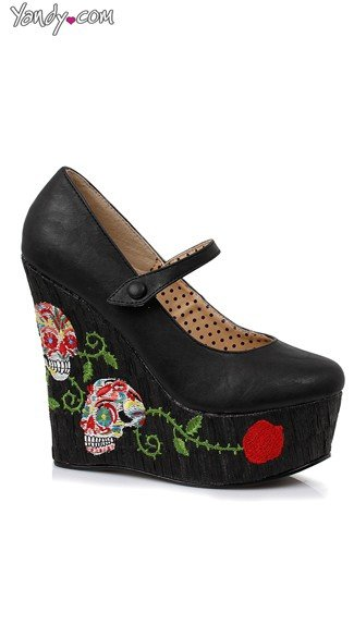 Skull Patterned Mary Jane Wedge, Platform Mary Janes, Wedges For Women