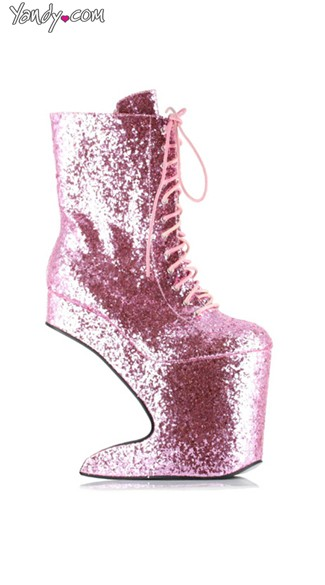 Glitter Lace Up Platform Bootie