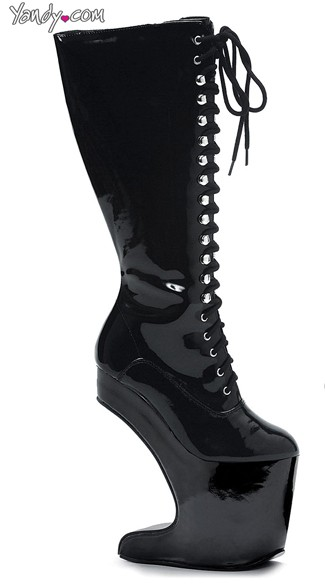 Lace Up Anti Gravity Knee-High Platform Boots, High Heeled Boots, Wedge Knee High Boot