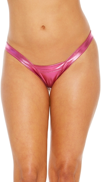 Metallic V-Dip Thong, Sexy Metallic Dancewear Thong, Bright Mini Thong Panty