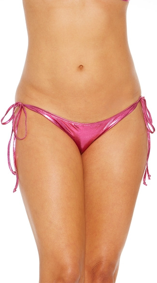Metallic Side Tie Scrunch Back Bikini Panty, Sexy Scrunch Back Panty, Hot Metallic Side Tie Panty