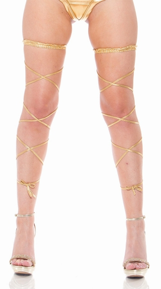 Metallic Leg Wrap with Thigh High Band, Sexy Wrap Around Leg Ties, Dancewear Leg Wraps