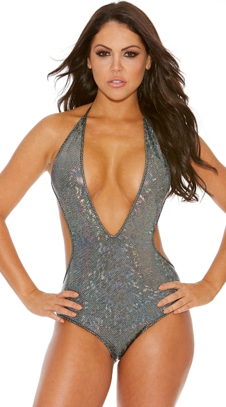 Metallic Glitter Low Cut Monokini, Halter Neck Monokini
