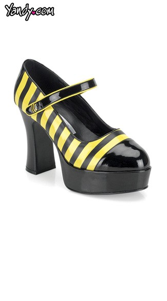 "Bumble Bee Mary Janes with 4"" Heel"