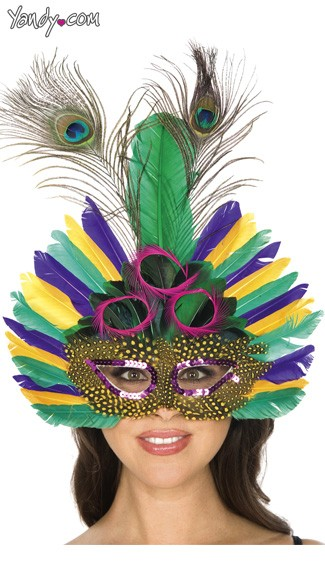 Mardi Gras Feather Mask, Purple and Gold Mask, Green and Purple Mask