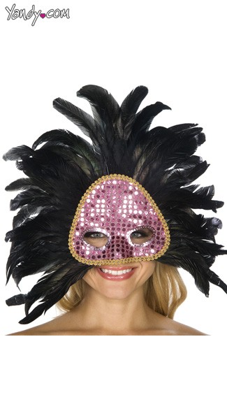 Pink and Black Feather Mask, Womens Costume Mask, Womens Mardi Gras Mask