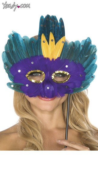 Wand Held Purple and Teal Feather Mask