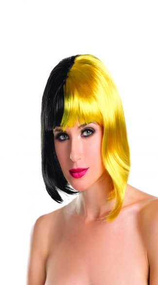Two Toned Short Wig, Short Neon Wigs, Colorful Rave Wigs
