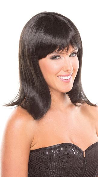 Medium Length Doll Wig, Shoulder Length Wig, Wig with Bangs