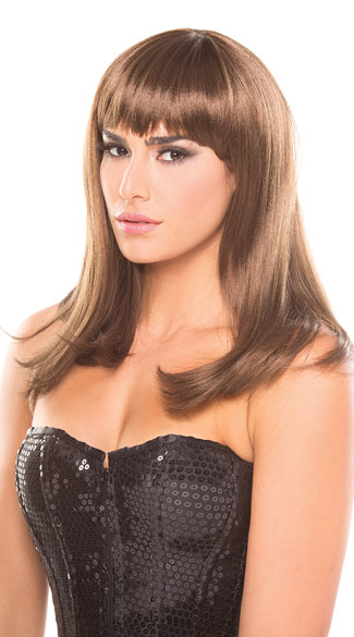 Hollywood Glam Wig, Blunt Cut Wig, Fringe Bangs Wig