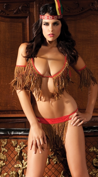 Teepee Nites Lingerie Costume, Sexy Native American Lingerie Set, Sexy Indian Lingerie Set, Fringed Indian Lingerie Set