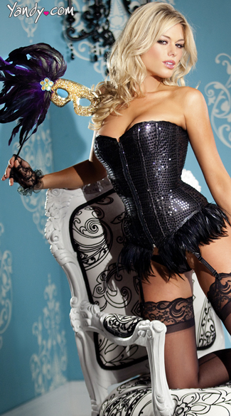 Sequin Corset With Feather Trim, Sexy Lace-Up Corsets, Pretty Glitter Corsets