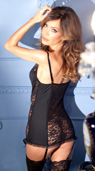 Black Lace and Spandex Gartered Chemise