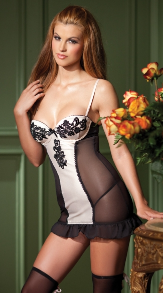 Lace Applique Front Chemise, Black Mesh Chemise, Black and White Chemise