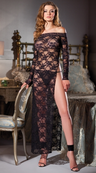 Long Black Lace Chemise, Off the Shoulder Chemise, Long Sleeve Lace Chemise
