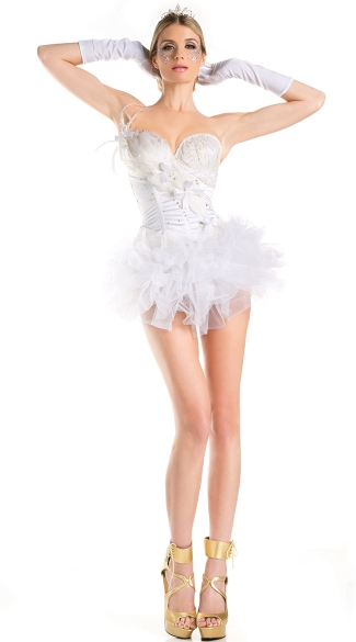 White Swan Corset Costume, Swan Princess Halloween Costumes, White Swan Costume Dresses