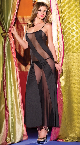 Diagonal Mesh Long Chemise, Long Black Mesh and Opaque Chemise
