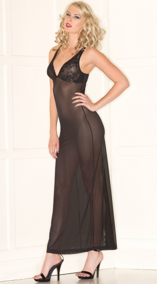 Midnight Mesh Lingerie Gown, Black Mesh and Lace Cup Chemise
