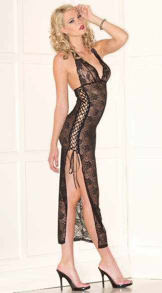 Lace Beauty Lingerie Gown, Lace Up Side Chemise
