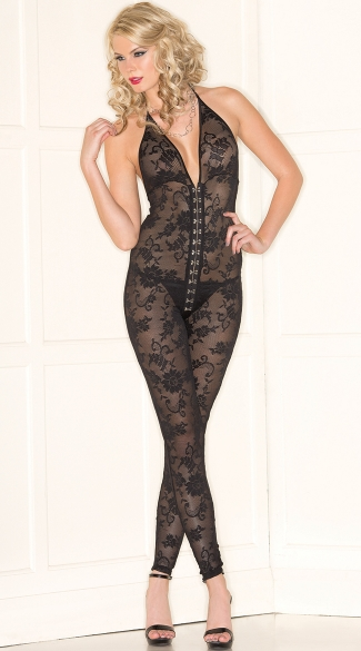 Lace Halter Bodystocking with Front Hooks, Hook Front Bodystocking