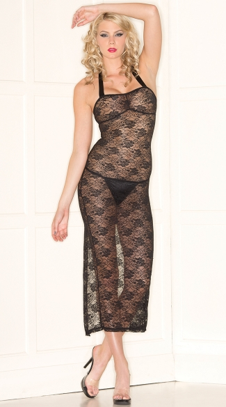 Open Back Black Lace Lingerie Gown, Lace Up Back Chemise