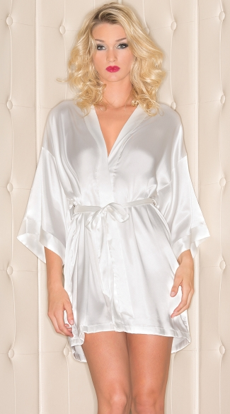 Short Sleeve Satin Robe