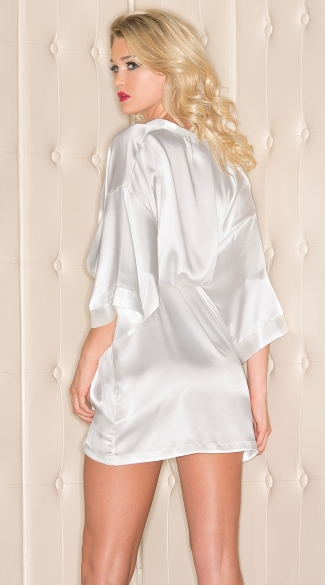 Plus Size Short Sleeve Satin Robe