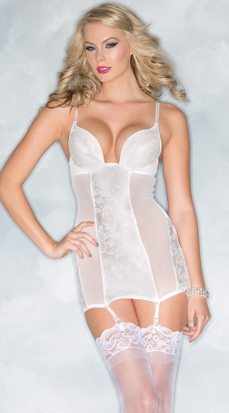 Here Comes the Bride Chemise, White Floral Chemise, White Garter Chemise