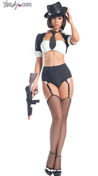 Jazzy Gangster Costume, Sexy Gangster Outfit, High Waisted Lingerie Costumes