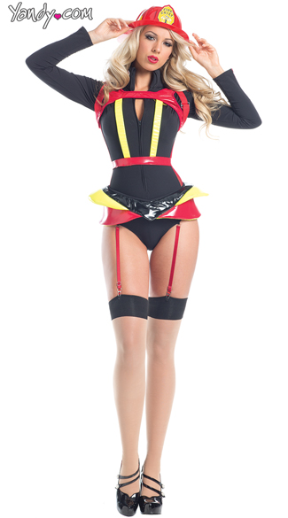 Hearts On Fire Costume, Sexy Firefighter Costumes, Firefighter Romper Costumes