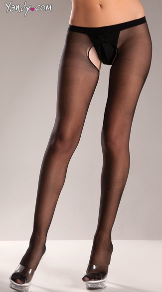 Sheer Nylon Crotchless Panty Hose, Sexy Open Crotch Stockings, Seductive Crotchless Lingerie