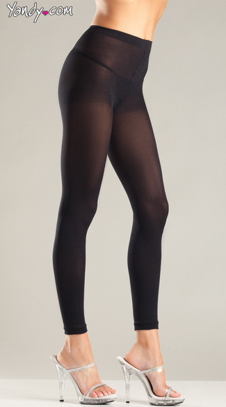 Sexy Opaque Footless Tights, Black Footless Leggings, Classic Footless Pantyhose