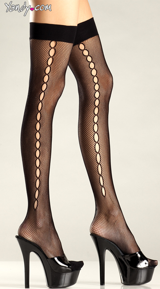 Crochet Net Thigh Highs, Black Net Thigh Highs, Fishnet Thigh High Stockings